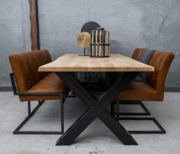 Industriële eiken boomstamtafel met stoelen en eetkamerbank SET