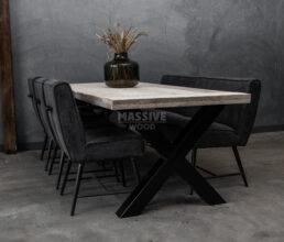 Industriële steigerhouten tafel SET inclusief stoelen en bankje