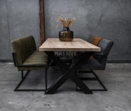 Industriële eiken tafel met stoelen en eetkamerbank SETPRIJS
