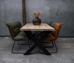 Industriële eiken tafel met stoelen en eetkamerbank SET